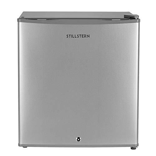 Mini-Kühlschrank mit Schloss A++ (43 Liter) und Abtauautomatik, LED-Innenbeleuchtung, Frostfach, Eierablage, Türablagen, Leise, Minikühlschrank, Silber