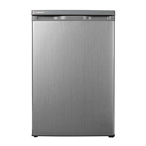 MEDION Kühlschrank (130 Liter, 85cm Höhe, Glasablagen, Gemüseschublade, unterbau-fähig, Freistehend, 91 kWh/Jahr, MD 13854) silber