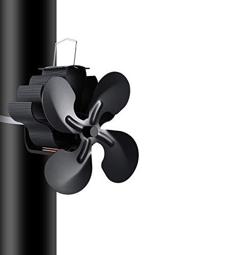 Aujelly 4 Flügel Rotorblätter, Stromloser Ventilator Kamin Holzöfen, Ofenventilator Feuerstelle Kaminöfen Ofen Ohne Strom Hitze, Metall, Schwarz, Medium