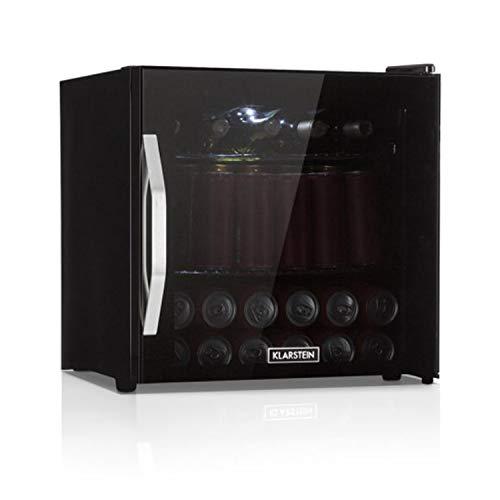 Klarstein Beersafe L - Minibar, Mini-Kühlschrank, Getränkekühlschrank, leise, 42 dB, Edelstahl, Glastür, 5-stufiger Temperaturregler, 2 Einschübe, 47 Liter, schwarz