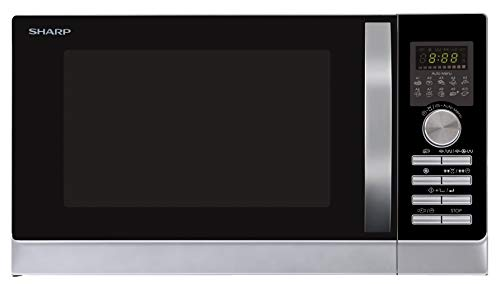 Sharp R843INW 3-in-1 Mikrowelle mit Heißluft, Grill und Konvektion/ 25 L / 800 W / 1000 W Grill / 2500 Konvection / 10 Automatikprogramme / Pizza-Programm / Metalldrehteller (30 cm) / Silber