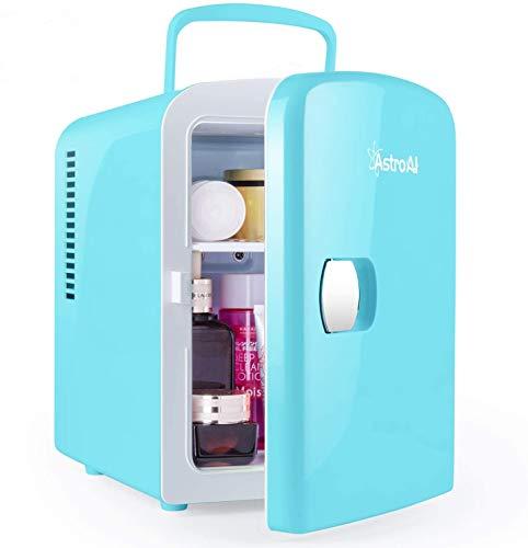 AstroAI 2 in 1 Mini Kühlschrank, 4 Liter mit Kühl- und Heizfunktion 12 Volt am Zigarettenanzünder und 230 Volt Steckdose für Autos, Büros und Schlafsäle,Tiffany Blau