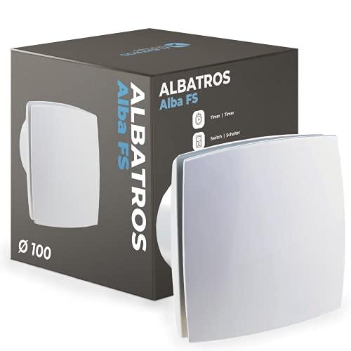 Albatros Badlüfter 100mm mit Feuchtigkeitssensor und Timer - Alba FS - Extra Leise und Leistungsstark - Innovativer Bad-Lüfter - Schafft ein angenehmes Wohlfühlklima