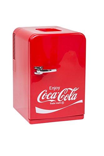 MOBICOOL Coca-Cola Mini Kühlschrank F15, 12/230V - 15L mit Kühl- und Warmhaltefunktion für Getränke und Speisen, Energieeffizienzklasse A++, Rot