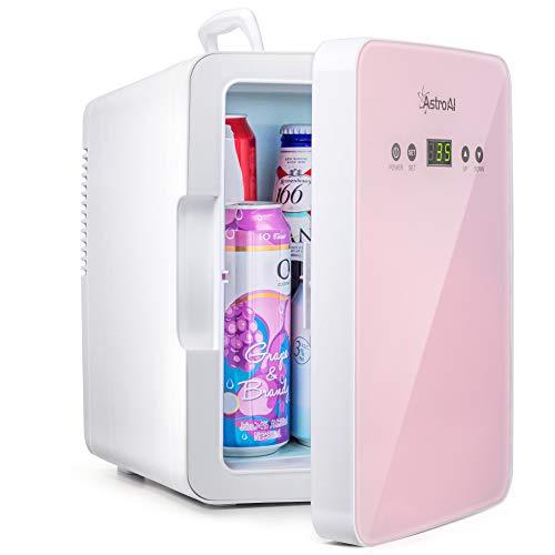 AstroAI Mini Kühlschrank 6 Liter Kühlschrank mit Temperaturregelung, AC/12V(220V) DC Tragbarer thermoelektrischer Kühler und Wärmer für Schlafzimmer, Kosmetik, Muttermilch, Haushalt & Reisen, Rosa