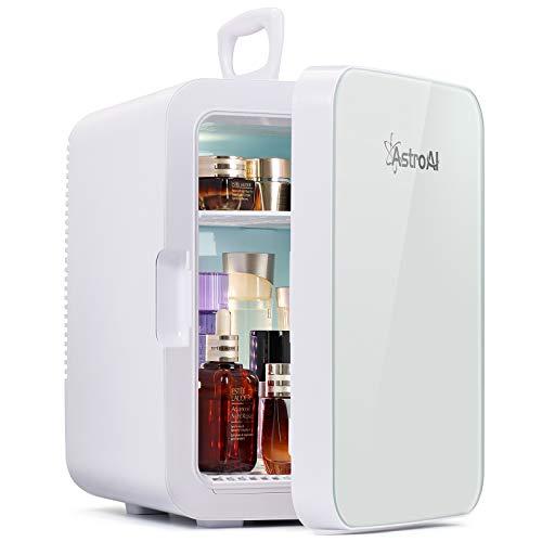 AstroAI Mini Kühlschrank, 10 Liter Fridge mit Kühl/Heizfunktion und AC/DC Stromversorgung, Tragbare Kosmetik Kühlschrank für Hautpflege, Lebensmittel, Medikamente, Milch, Büro und Reisen