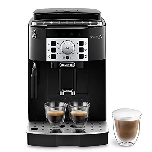 De'Longhi Magnifica S ECAM 22.110.B Kaffeevollautomat mit Milchaufschäumdüse für Cappuccino, mit Espresso Direktwahltasten und Drehregler, 2-Tassen-Funktion, 1,8 Liter Wassertank, Schwarz/Silber