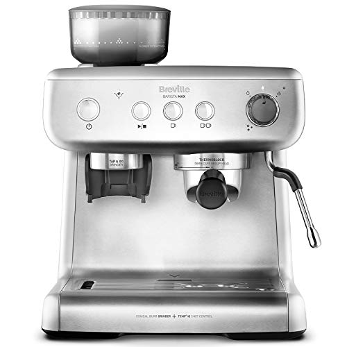 Breville Barista Max für Espresso, Latte & Cappuccino   2,8 L Wassertank   integriertes Mahlwerk und Milchschäumer   italienische Pumpe mit 15 bar   Edelstahl   VCF126X