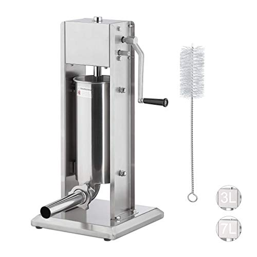 Relaxdays Wurstmaschine 5 Liter, 304 Edelstahl, manuell, 5 Füllrohre, professionelle Gastro Wurstfüllmaschine, silber