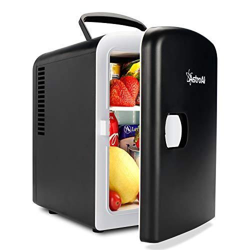 AstroAI 2 in 1 Mini Kühlschrank 4 Liter mit Kühl- und Heizfunktion 12 Volt am Zigarettenanzünder und 230 Volt Steckdose für Autos, Büros und Schlafsäle, Schwarz