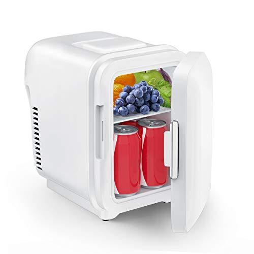 Mini Kühlschrank, CENXINY 4 Liter Kühlschrank /6 Dosen(330ml) tragbarer Kühler und Wärmer AC/DC betrieben, geräuscharm für Hautpflege, Kosmetik, Lebensmittel, Schlafzimmer, Büro, Auto, Reisen (Weiß)