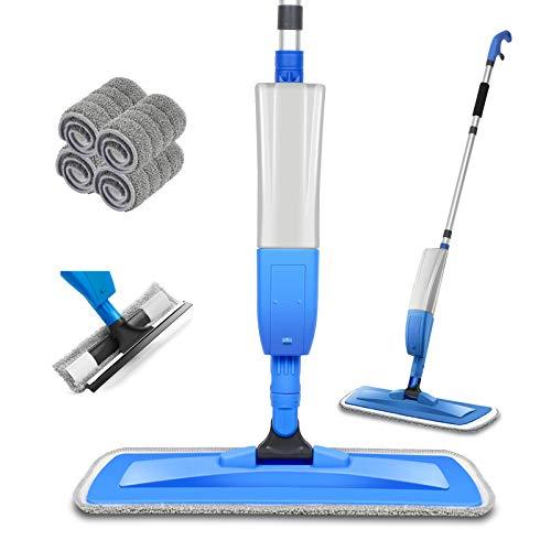 Bellababy Bodenwischer Wischer mit Sprühfunktion Spray Mop mit 4 Wisch Pads und Fensterschaber, 360 Grad Rotierender Mop mit 450ml Wassertank Blau neu