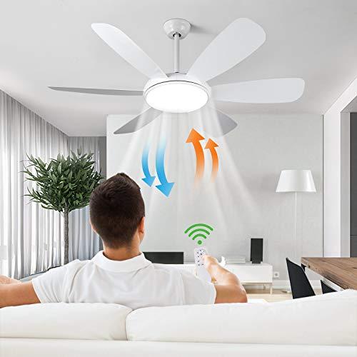 Albrillo 132cm Deckenventilator mit Beleuchtung - 2-in-1 Ventilator mit LED Ultraleise, 3 Farbtemperaturen & 6 Windgeschwindigkeiten, Timer & Umkehrsfunktion, Fernbedienung, 6 Flügeln für Wohnzimmer