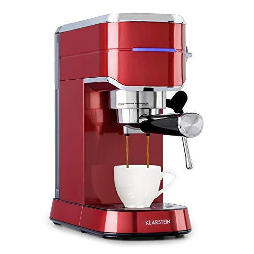 Klarstein Futura Kaffeemaschine, Siebträgermaschine,1450 Watt, 20 bar, Barista-Qualität, Thermo-Block Heizsystem, Zweifach Ausguss, Fließstopp, Milchaufschäum-Funktion, rot