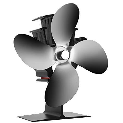 CXhome Kaminventilator, mit 4 Blättern, 40℃ Schneller Selbststart, Ventilator für Holz/Brennholz/Kamin