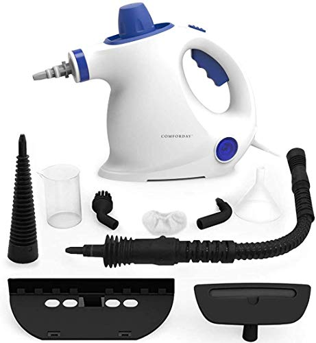 Multifunktionaler Comforday-Dampfdruckreiniger als Handgerät mit 9 Zubehörteilen für Fleckenentfernung, Bedampfung, Teppiche, Vorhänge, Autositze, Küchenoberflächen & Vieles Mehr