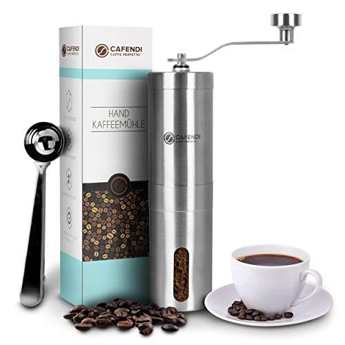 Cafendi Kaffeemühle Manuell   Edelstahl Handkaffeemühle - Robustes Mahlwerk aus Keramik   Espressomühle für Küche, Camping und Outdoor   Mit E-Book für perfekten Kaffegenuss