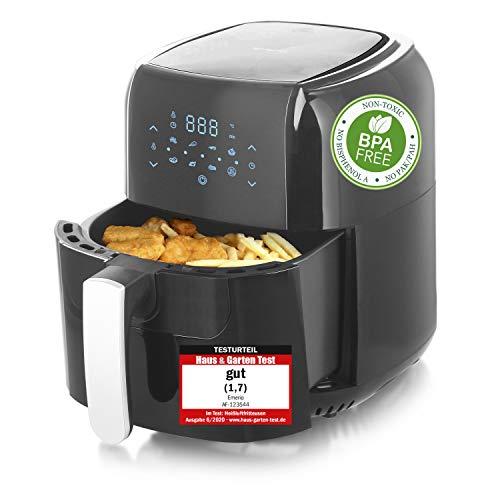 Emerio Heißluftfritteuse, Airfryer, Smart Fryer, DIGITAL, Frittieren ohne Öl, leicht zu reinigen, 5.5 Liter Volumen, 1400 Watt, BPA frei, AF-123544