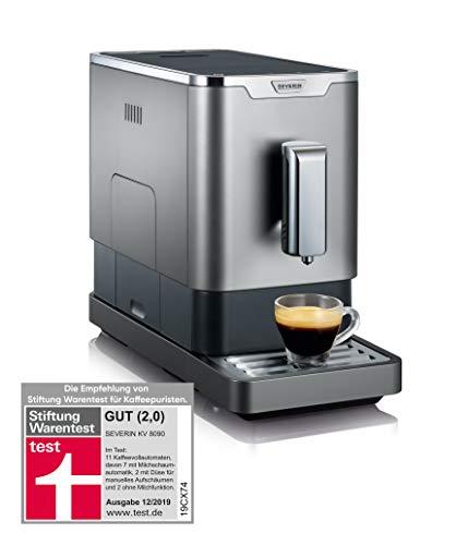 SEVERIN Kaffeevollautomat mit Mahlwerk, Für Kaffeebohnen, Ultrakompaktes Slim-Design, Eco-Modus, KV 8090, Grau/Schwarz