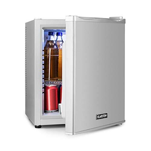 Klarstein Happy Hour - Minibar, Mini-Kühlschrank, Getränkekühlschrank, Kompression, Kühltemperatur: 5-15 °C, lautlos: 0 dB, LED-Licht, 25 Liter silber