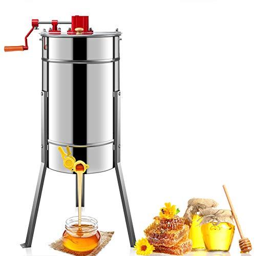 Kwasyo GCSJ Honigschleuder Manuell 3-Waben Lebensmittelechter Edelstahl Manuell Honig-Extraktor für Bienenzucht Bee Einklang mit Cover