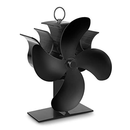 PAIPU Kaminventilator, Ofenventilator mit Thermometer, automatischer und leiser Betrieb, Kamin Ventilator mit 4 Blättern für Herde, Holzofen und Kaminen