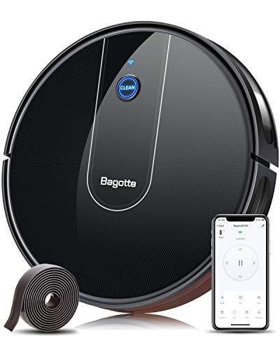 Bagotte BG700 Saugroboter WLAN (Slim), Starker 1600Pa Automatischer Staubsauger Roboter mit App & Alexa Steuerung, 6.9cm Schlank, Selbstaufladender Roboterstaubsauger für Tierhaare, Teppiche, Fliesen