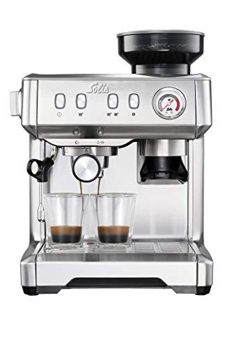 Solis Espressomaschine, Manometer, Dampf- und Heißwasserfunktion, PID-Temperaturregler, 51 mm Siebträger mit Doppelauslauf, 15 bar, 2,5 l Wassertank, Edelstahl, Grind & Infuse Compact (Typ 1018)