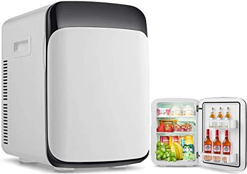 RELAX4LIFE 15L Mini Kühlschrank, elektrischer Kühlschrank mit Kühl- & Heizfunktion, Minibar einstellbare Temperatur -3 °C-50 °C, Getränkekühler tragbar für Auto und Zuhause, 33 x 28 x 39cm