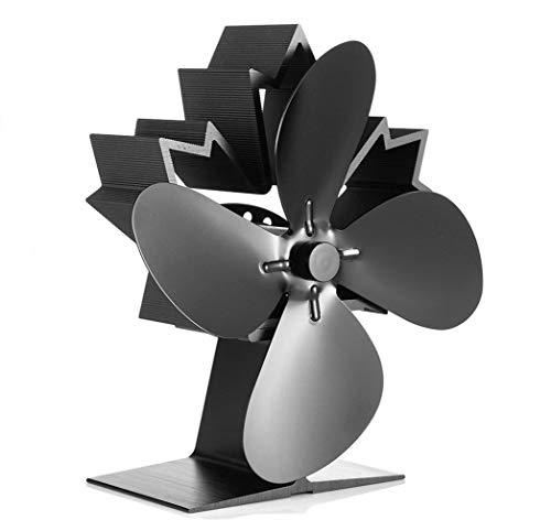 Kaminventilator 4 Blätter Kamin Ofen Ventilator, CRSURE Kaminbesteck Stromloser Feuerstelle Kaminöfen Wärmebetriebener Ofenventilator Große Räume für Kaminofen Holzöfen Umweltfreundlich ohne Strom