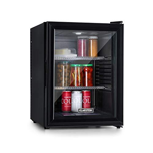 Klarstein Brooklyn 42 Mini-Kühlschrank mit Glastür, kompakt, freistehend, Thermoelektrisches Kühlsystem, 42 Liter, 12-18 °C, Auto DeFrost, Energieeffizienzklasse A, 0 dB, Innenraum: schwarz, schwarz