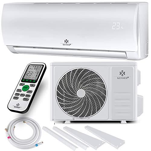 KESSER® Klimaanlage Set Split - mit WiFi/App Funktion Klimagerät - Kühlen A++/ Heizen A+ -12000 BTU/h (3.400 Watt) Kältemittel R32 - Fernbedienung, Timerfunktion - Inkl. komplettem Montagematerial