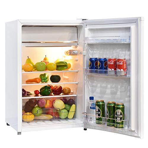 GOPLUS Kühlschrank mit Gefrierfach, 123L Standardkühlschrank, Kühl-Gefrier-Kombination Hotelkühlschrank, Höhenverstellbare Füße, Energieklasse A+ (Weiß)