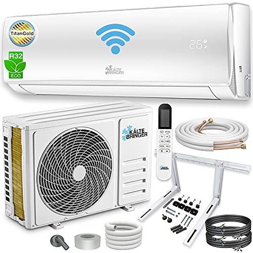 Kältebringer Split Klimaanlage Set - Splitgerät mit WIFI/App, Smart Home - bis 55 qm - 12000 BTU, 3,4 kW - A++ Kühlen/A+ Heizen - Kältemittel R32 - mit 5m Kupferleitung, komplettes Montagematerial