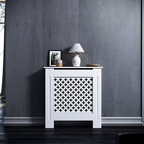 ELEGANT Heizkörperverkleidung Klein Modern Raute Lamell Weiß Lackiert Schrank Heizkörper Abdeckung für Wohnzimmer/Schlafzimmer/Küche