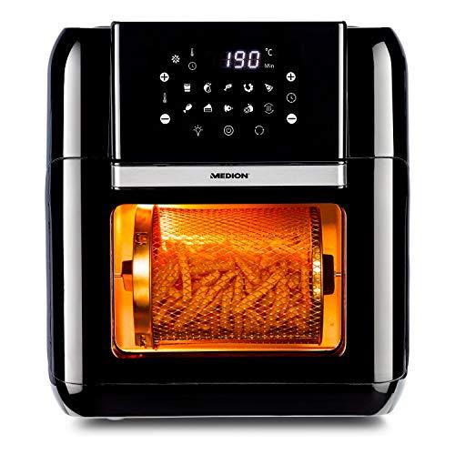 MEDION Multifunktions-Heißluftfritteuse (10L XXL-Kapazität, 360°-Wärmesystem, Frittieren, Backen, Grillen und Rösten ganz ohne Öl, 10 Automatikprogramme, MD 10072) schwarz