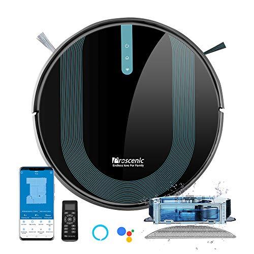 Proscenic 850T WLAN Saugroboter, Staubsauger Roboter, Alexa & Google Home & Appsteuerung, Saugroboter mit Wischfunktion, 3000Pa Saugleistung auf Teppichen und Hartböden, Magnetband für Begrenzung