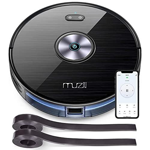 Muzili Saugroboter, Wlan Staubsauger Roboter mit Wischfunktion,App Fernbedienung & Kompatibel mit Alexa, Geräuscharm 350ML Wassertank mit 6 Reinigungsmodi für Tierhaare, Teppiche und harte Böden
